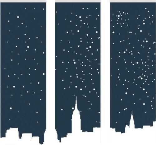 Een afbeelding van een akoestische ruimteverdeler op Akoestiekspecialist genaamd BuzziSpace BuzziFalls Skyline.