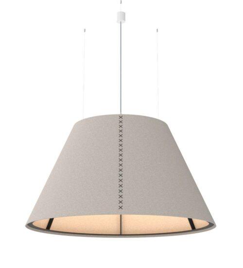 Een afbeelding van een akoestische hanglamp op Akoestiekspecialist genaamd BuzziSpace BuzziShade XL.