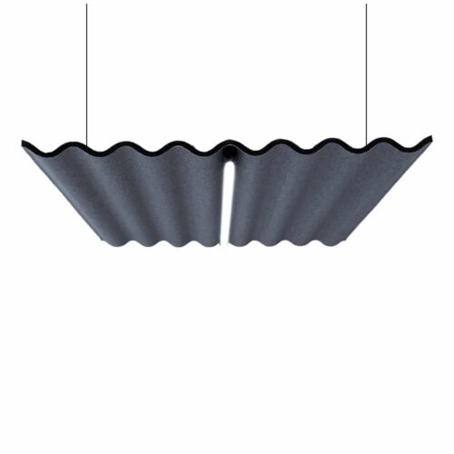 Een afbeelding van een akoestische hanglamp op Akoestiekspecialist genaamd Abstracta Scala Light.