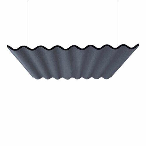 Een afbeelding van een akoestisch hang- plafond element op Akoestiekspecialist genaamd Abstracta Scala Sky.