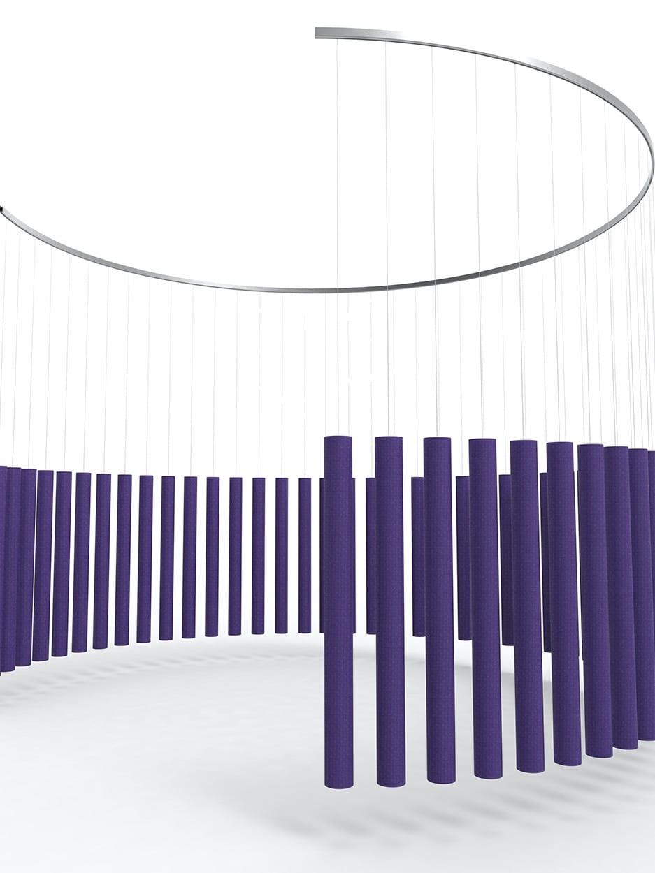 Een afbeelding van een akoestische ruimteverdeler op Akoestiekspecialist genaamd Offecct Soundsticks Round.