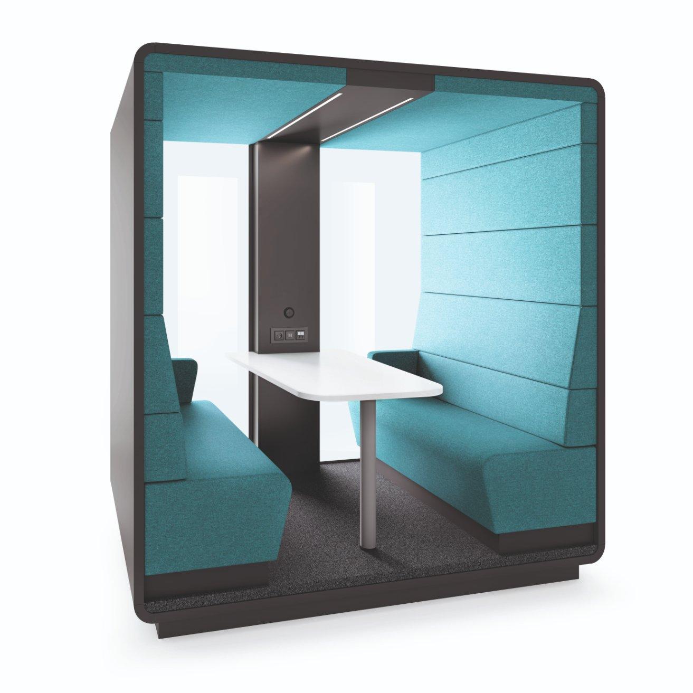 Een afbeelding van een akoestische stiltecabine op Akoestiekspecialist genaamd Mikomax Hush Meet Open.