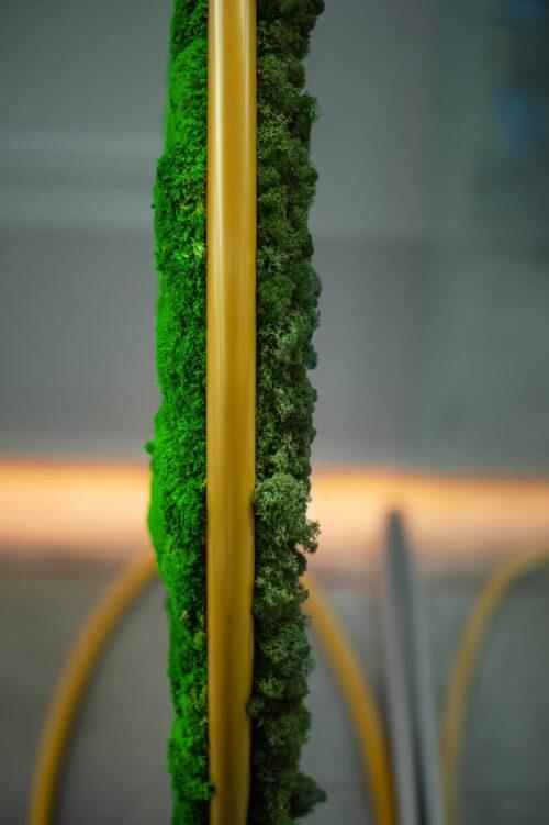 Een afbeelding van een akoestisch mospaneel op Akoestiekspecialist genaamd Greenmood G-Screens.
