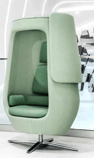 Een afbeelding van een akoestische belstoel op Akoestiekspecialist genaamd Mikomax Hush A11.